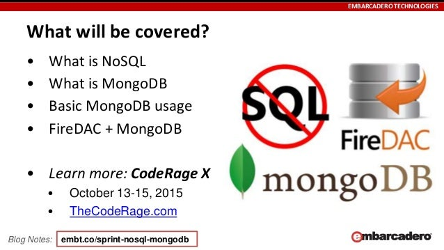 Skill Sprint NoSQL, MongoDB and FireDAC in Delphi, C++
