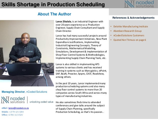 Skills shortage in production scheduling – Production Scheduler Job Description