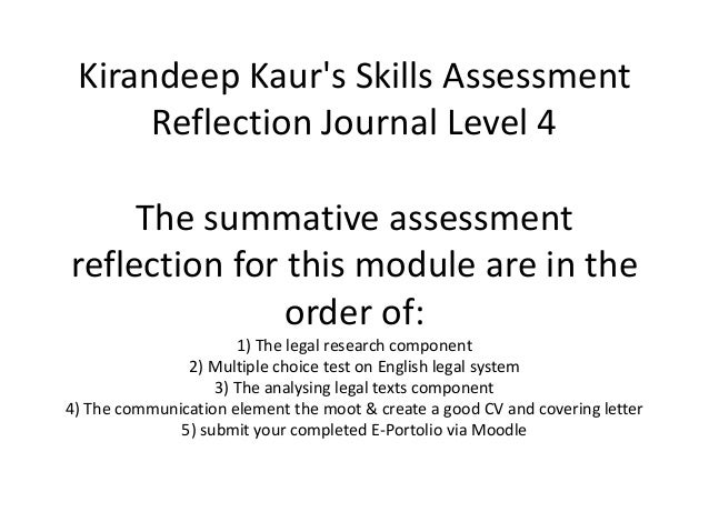 Kirandeep Kaurs Skills AssessmentReflection Journal Level 4The summative assessmentreflection for this module are in theor...