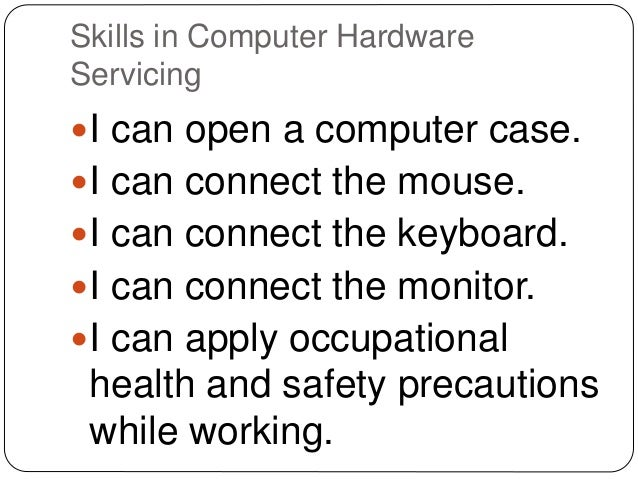 skills test on computer hardware servicing