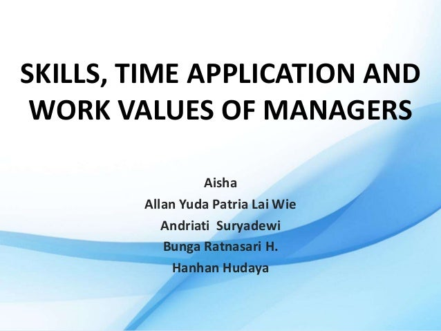 Skills, time application and work values of managers