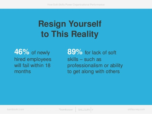 bamboohr.com skillsurvey.com How Soft-Skills Power Organizational Performance Resign Yourself to This Reality 46% of newly...