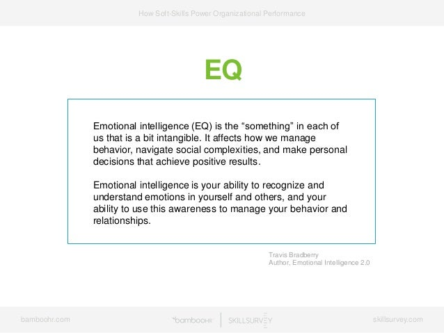 "bamboohr.com skillsurvey.com How Soft-Skills Power Organizational Performance EQ Emotional intelligence (EQ) is the ""somet..."