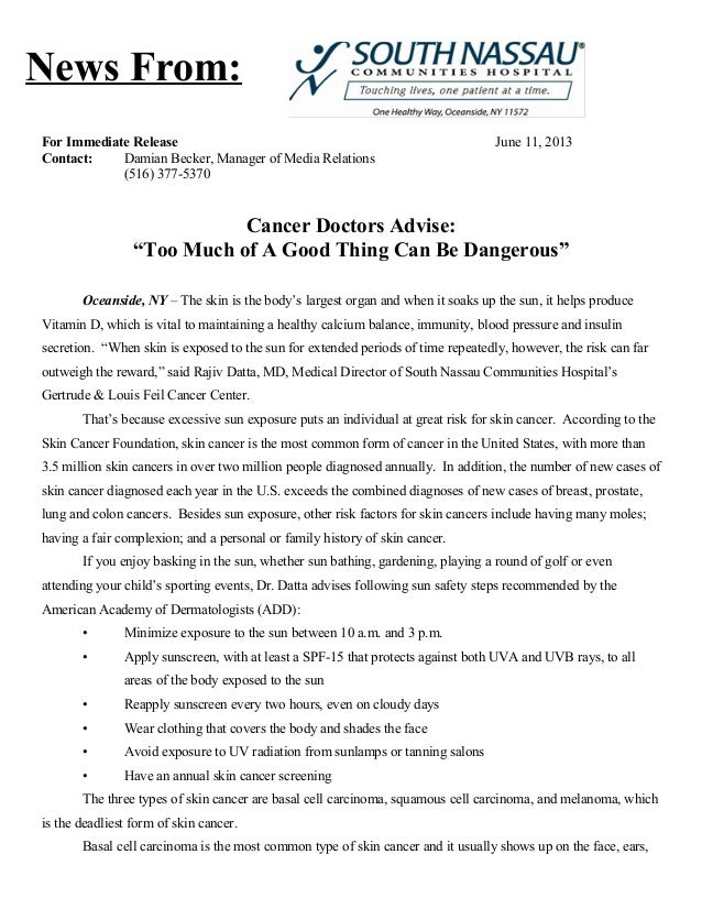 """For Immediate Release June 11, 2013Contact: Damian Becker, Manager of Media Relations(516) 377-5370Cancer Doctors Advise:""""..."""