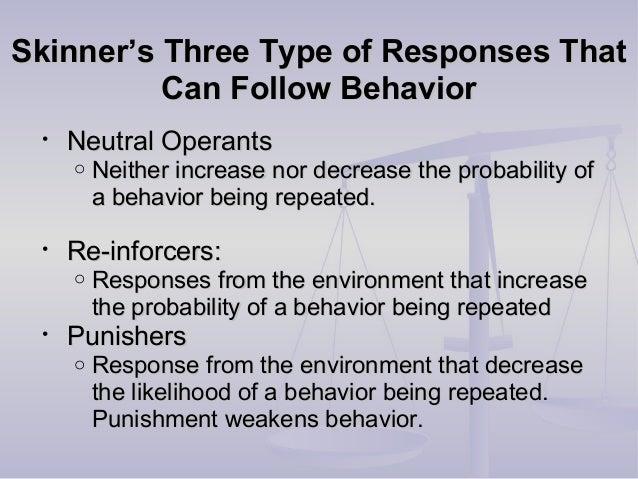 Skinner's Three Type of Responses ThatSkinner's Three Type of Responses That Can Follow BehaviorCan Follow Behavior • Neut...