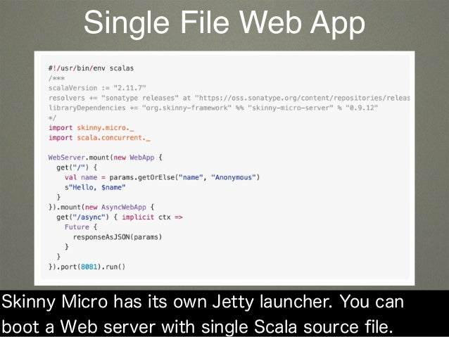 Skinny Micro has its own Jetty launcher. You can boot a Web server with single Scala source file. Single File Web App