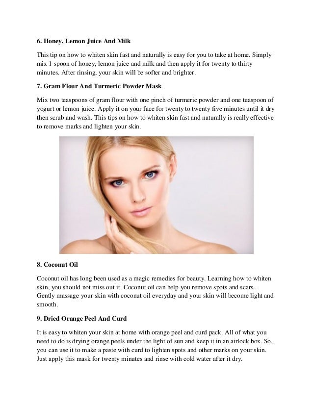 How To Whiten Face Fast Naturally