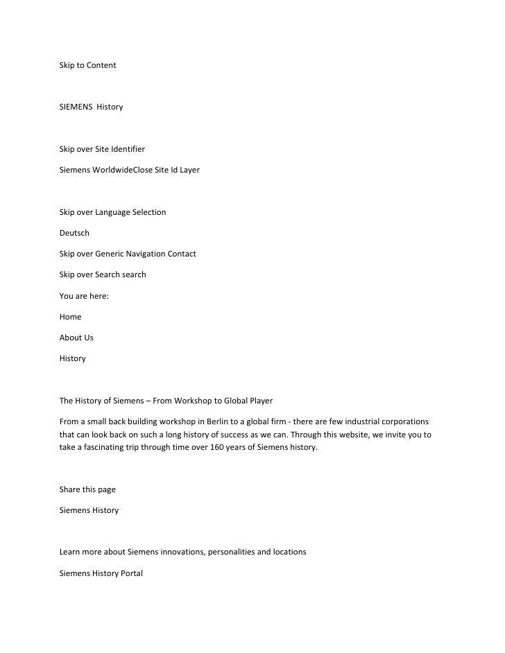 Skip to Content    SIEMENS History    Skip over Site Identifier  Siemens WorldwideClose Site Id Layer    Skip over Languag...