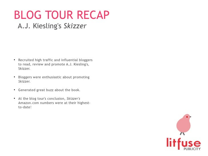 BLOG TOUR RECAP A.J. Kiesling's  Skizzer <ul><ul><li>Recruited high traffic and influential bloggers to read, review and p...