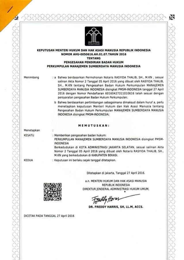 PMSM Indonesia Legalitas SK KEMENKUMHAM