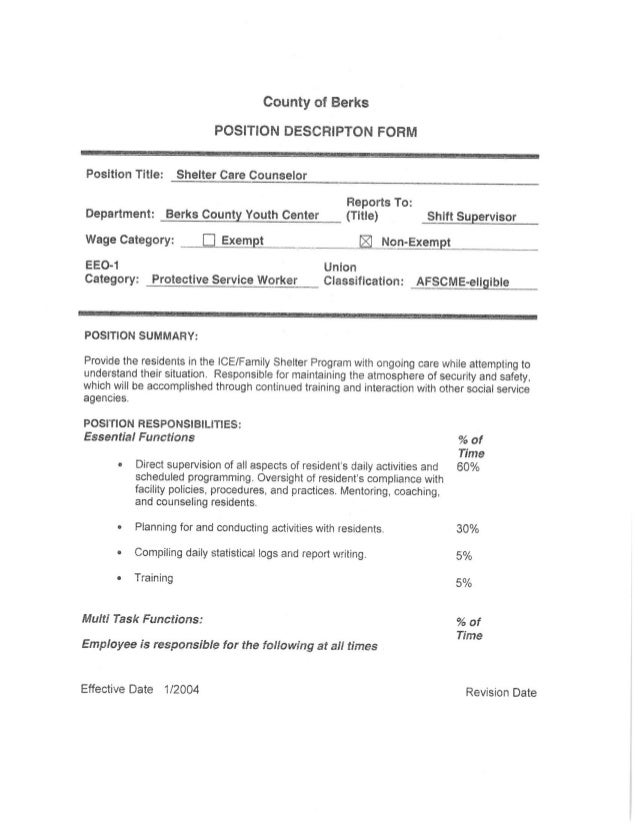 County of Berks POSITION DESCRIPT ON FORM     Position Title:  Shelter Care Counselor     Reports To:  Department:  Berks ...