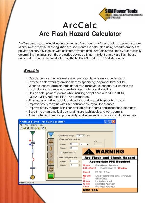 SKM ArcCalc Arc Flash Hazard Calculator (NFPA 70E & IEEE 1584)