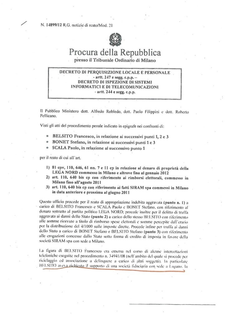 Caso Belsito, il decreto della Procura di Milano