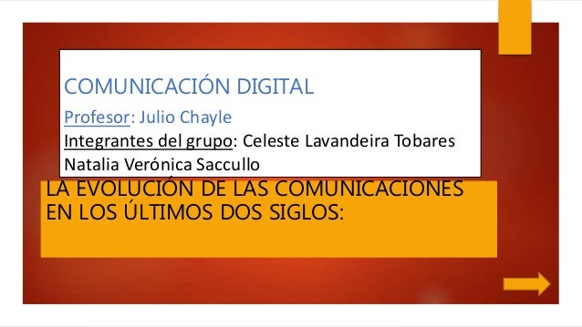 COMUNICACIÓN DIGITAL Profesor: Julio Chayle Integrantes del grupo: Celeste Lavandeira Tobares Natalia Verónica Saccullo LA...