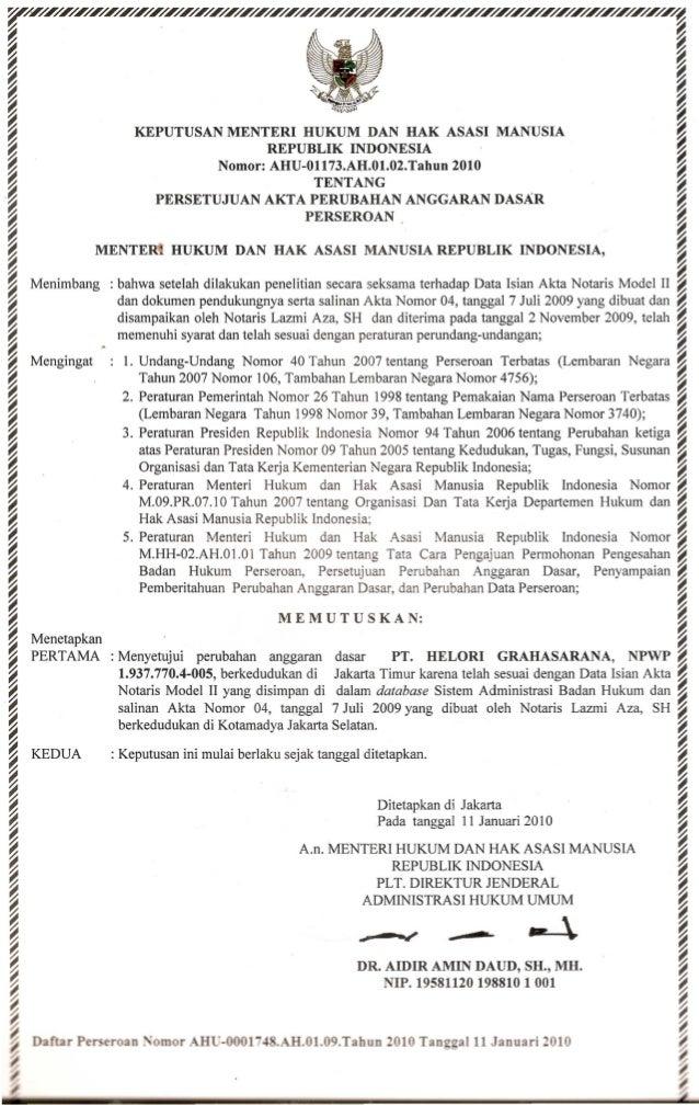 Sk Menkumham Ri Persetujuan Akta Perubahan Anggaran Dasar Pt Helori