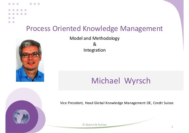 1 Process Oriented Knowledge Management Model and Methodology & Integration Michael Wyrsch Vice President, Head Global Kno...