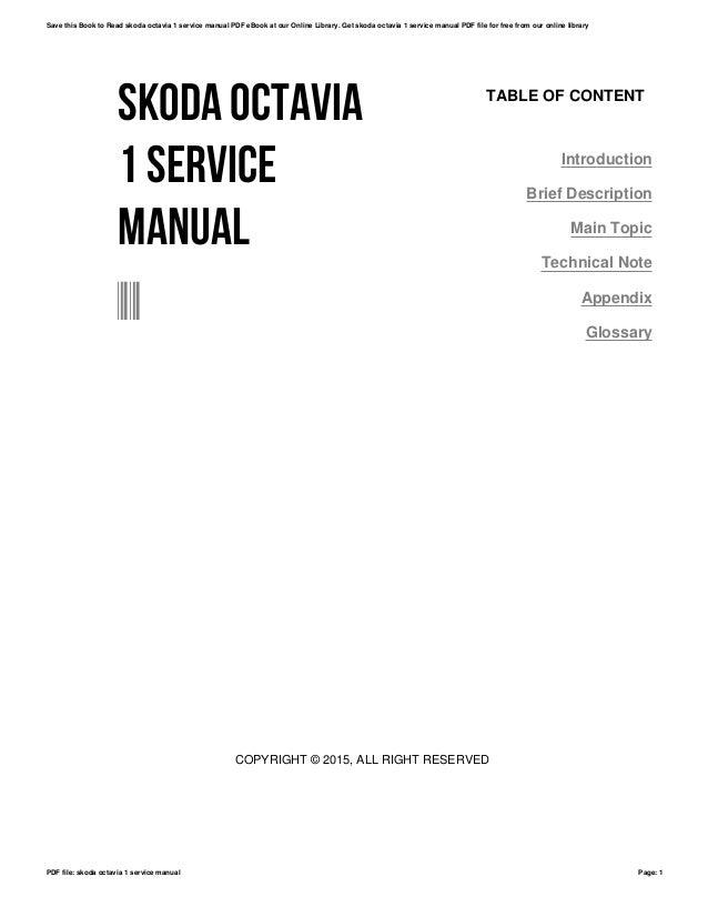 Skoda octavia 1 service manual