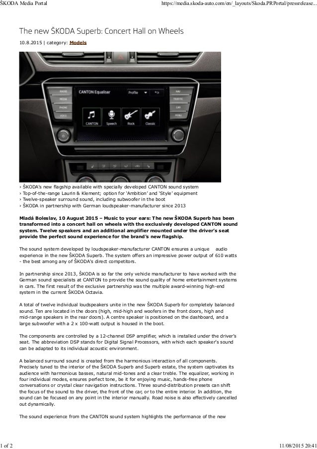 Skoda superb canton sound system
