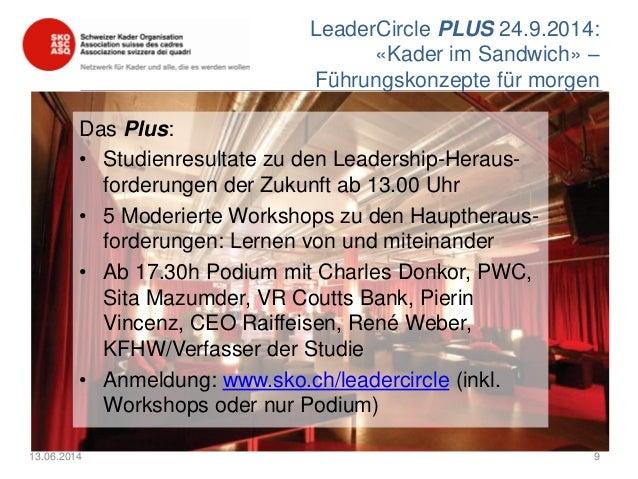 LeaderCircle PLUS 24.9.2014: «Kader im Sandwich» – Führungskonzepte für morgen Das Plus: • Studienresultate zu den Leaders...
