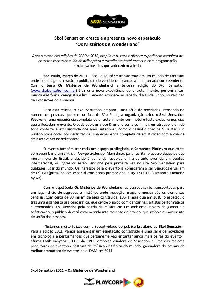 """Skol Sensation cresce e apresenta novo espetáculo                        """"Os Mistérios de Wonderland""""Após sucesso das ediç..."""