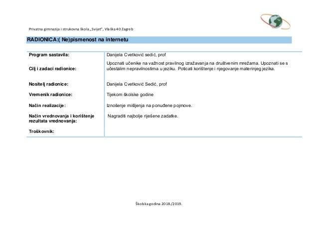 Primjer profil stranica web stranice