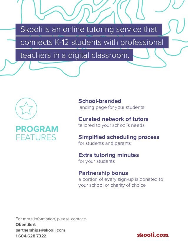 Skooli is an online tutoring service that connects K-12 students with professional teachers in a digital classroom. School...