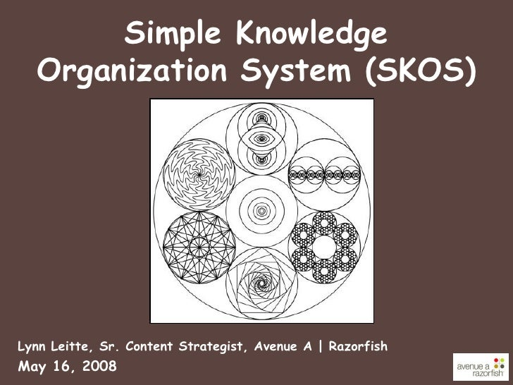 Simple Knowledge Organization System (SKOS) <ul><li>Lynn Leitte, Sr. Content Strategist, Avenue A | Razorfish </li></ul><u...