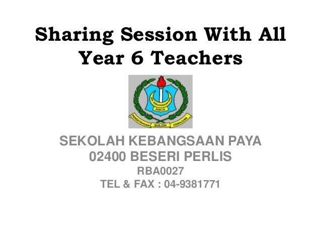 Sharing Session With All Year 6 Teachers SEKOLAH KEBANGSAAN PAYA 02400 BESERI PERLIS RBA0027 TEL & FAX : 04-9381771