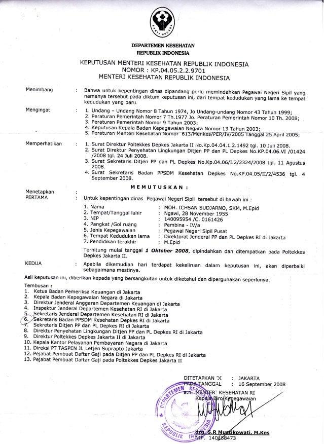 Contoh Surat Keputusan Pengangkatan Kepala Dinas Contoh