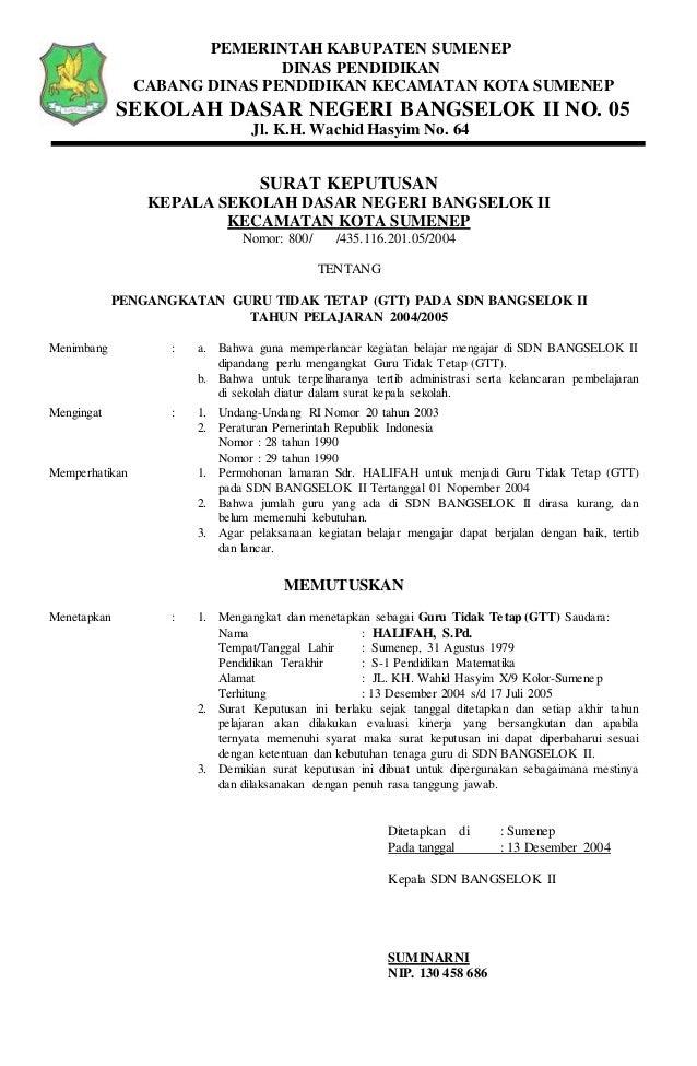 Sk pengangkatan guru sdn manding (halifah) 2006