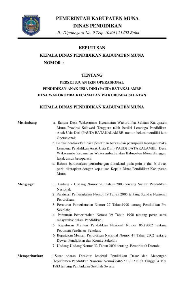 Contoh Surat Keterangan Izin Operasional Sekolah Contoh Surat