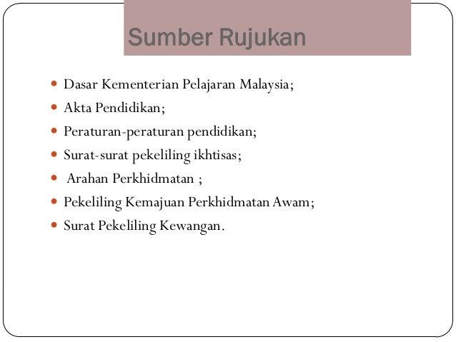 Sumber Rujukan Dasar Kementerian Pelajaran Malaysia; Akta Pendidikan; Peraturan-peraturan pendidikan; Surat-surat peke...