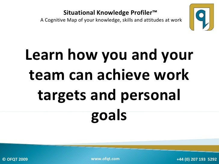 Situational Knowledge Profiler™  A Cognitive Map of your knowledge, skills and attitudes at work Learn how you and your te...
