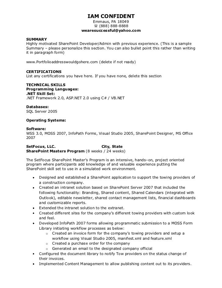 Sharepoint developer resume