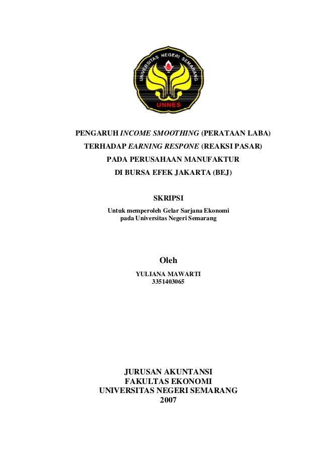 Skripsi Akuntansi Pengaruh Income Smoothing Perataan Laba