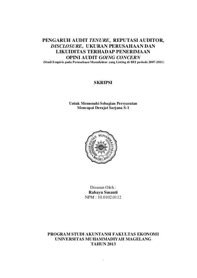 Pengaruh Audit Tenure Reputasi Auditor Disclosure Ukuran Perusah