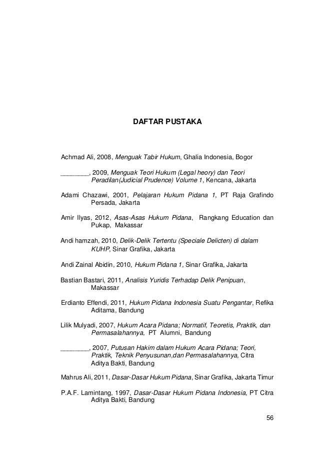 Contoh Daftar Isi Skripsi Hukum Pidana Pejuang Skripsi