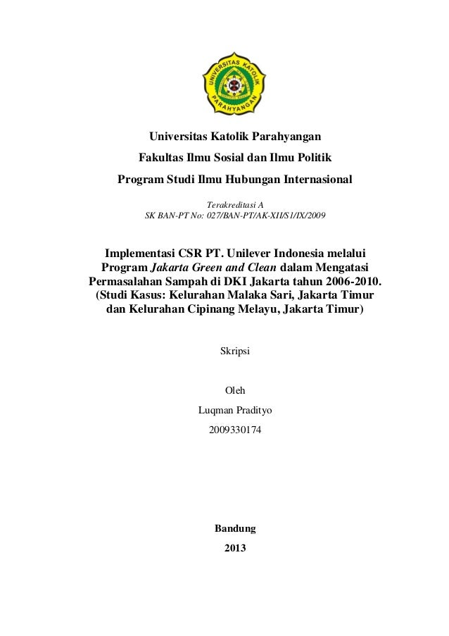 Implementasi Csr Pt Unilever Indonesia Melalui Program Jakarta Green