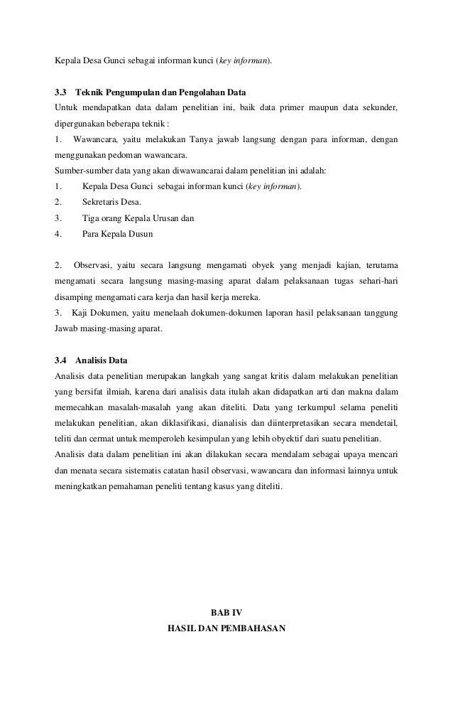 Skripsi Peranan Kepala Desa Dalam Melaksanakan Tugas Administrasi De