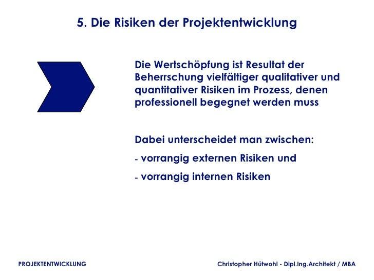 5. Die Risiken der Projektentwicklung                        Die Wertschöpfung ist Resultat der                        Beh...