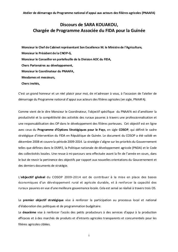 Atelier de démarrage du Programme national d'appui aux acteurs des filières agricoles (PNAAFA)                         Dis...