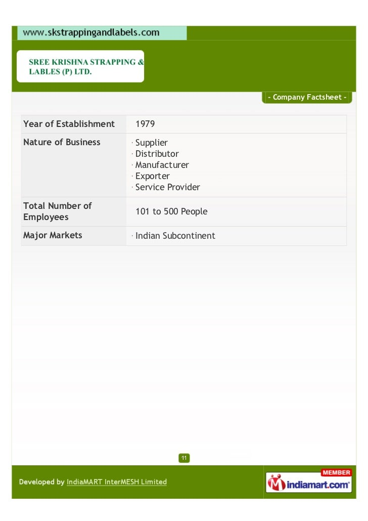 - Company Factsheet -Year of Establishment   1979Nature of Business      Supplier                        Distributor      ...