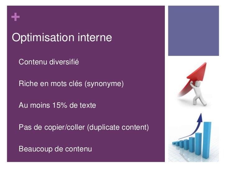 +Optimisation interne•   Contenu diversifié•   Riche en mots clés (synonyme)•   Au moins 15% de texte•   Pas de copier/col...