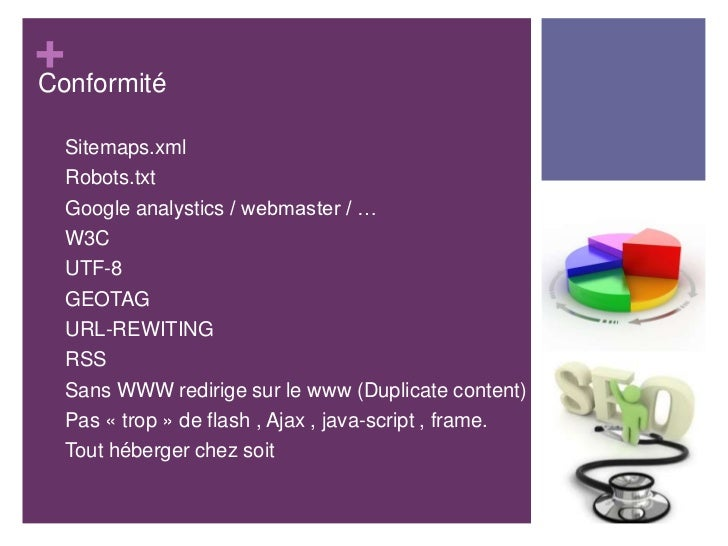 +Conformité•   Sitemaps.xml•   Robots.txt•   Google analystics / webmaster / …•   W3C•   UTF-8•   GEOTAG•   URL-REWITING• ...