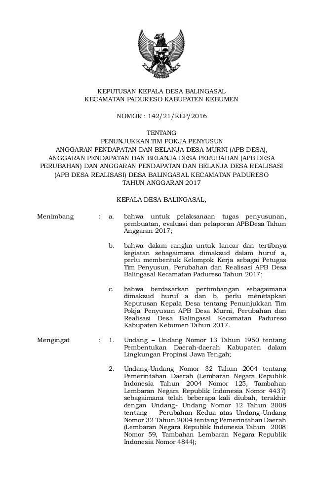 Keputusan Kepala Desa Ttg Penunjukkan Tim Pokja Penyusun Apb Desa