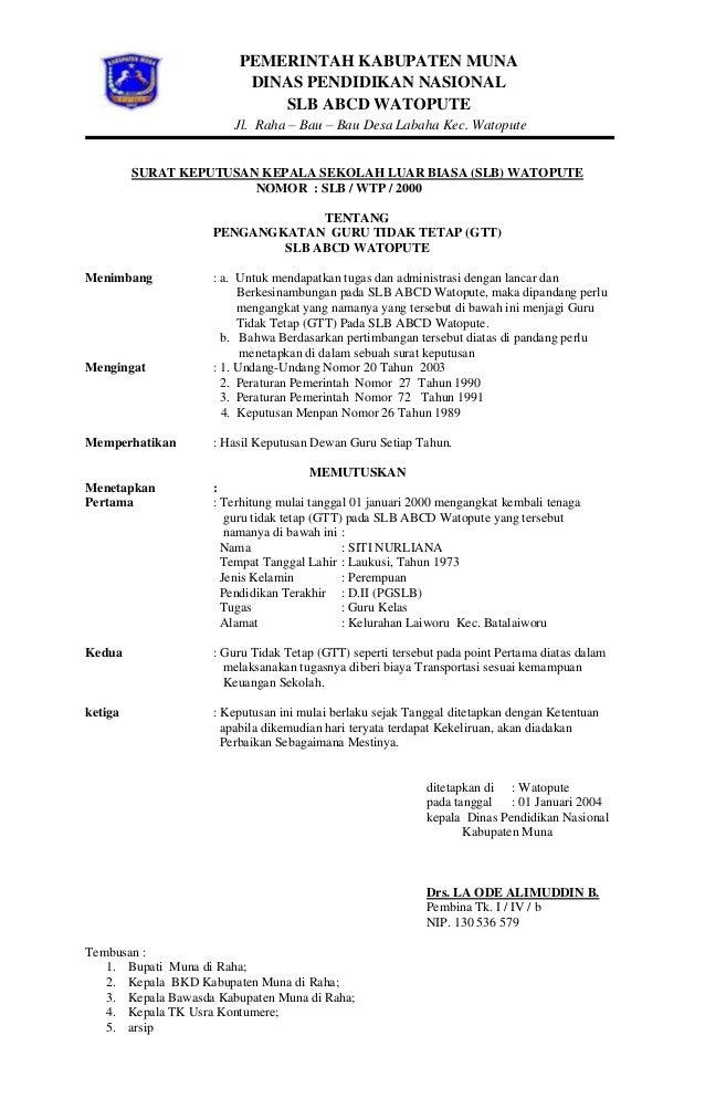 Contoh Surat Keputusan Kepala Dinas Pendidikan