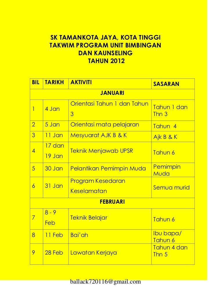 SK TAMANKOTA JAYA, KOTA TINGGI       TAKWIM PROGRAM UNIT BIMBINGAN               DAN KAUNSELING                 TAHUN 2012...