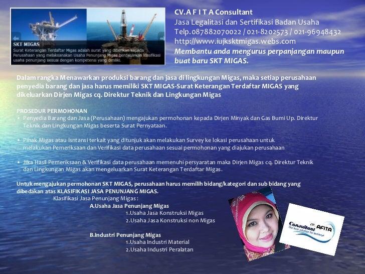 CV.A F I T A Consultant Jasa Legalitasi dan Sertifikasi Badan Usaha Telp.087882070022 / 021-8202573 / 021-96948432 http://...