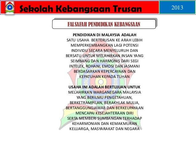 Sekolah Kebangsaan Trusan 2013 FALSAFAH PENDIDIKAN KEBANGSAAN PENDIDIKAN DI MALAYSIA ADALAH SATU USAHA BERTERUSAN KE ARAH ...