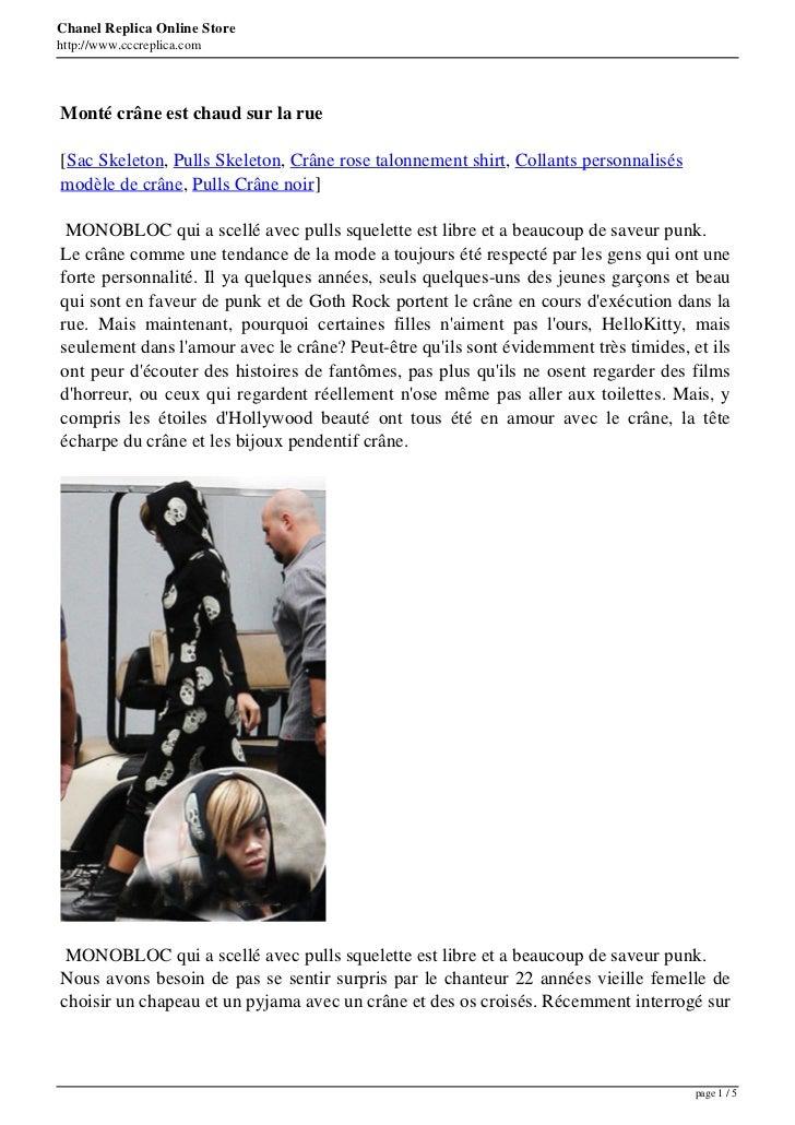 Chanel Replica Online Storehttp://www.cccreplica.comMonté crâne est chaud sur la rue[Sac Skeleton, Pulls Skeleton, Crâne r...